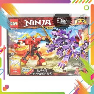 Lego NinjaGo QS08-70763L Lắp Ráp Cuộc Chiến Ninja & Khủng Long 3 Đầu ( Có đèn , Nhạc – 695 Mảnh )
