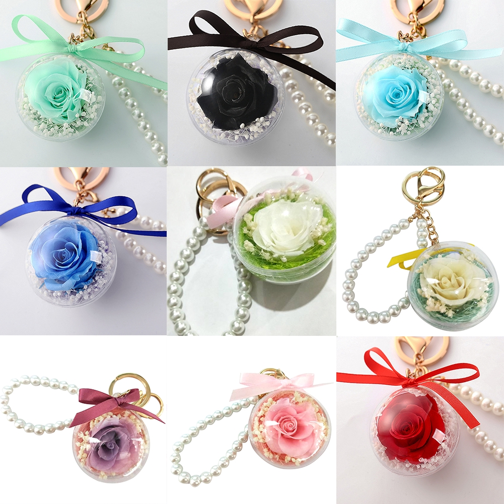 Dried Flower Car Gift Arts Crafts Simulated Pearl Transparent Ball Hanging Decorative Sealed Key Ring