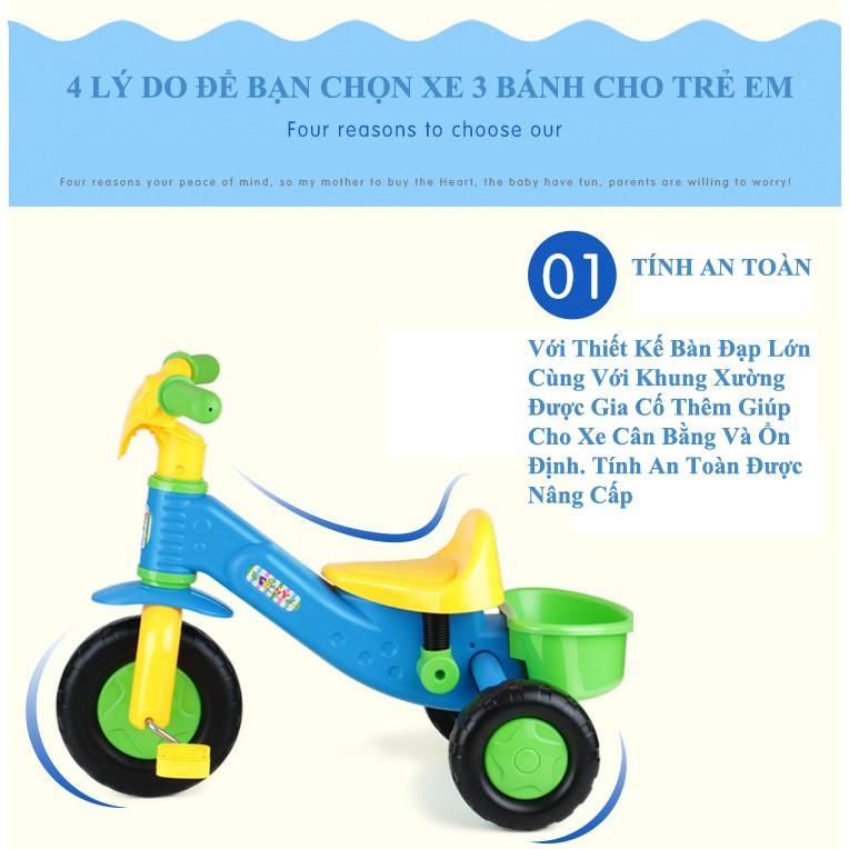 Xe đạp 3 bánh xanh lá chống trơn trượt cho bé tập chạy