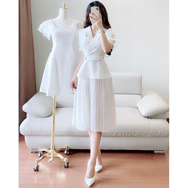 Đầm công sở thiết kế màu trắng chân xếp li dáng dài (kèm ảnh thật trải sàn) - Mã 1213