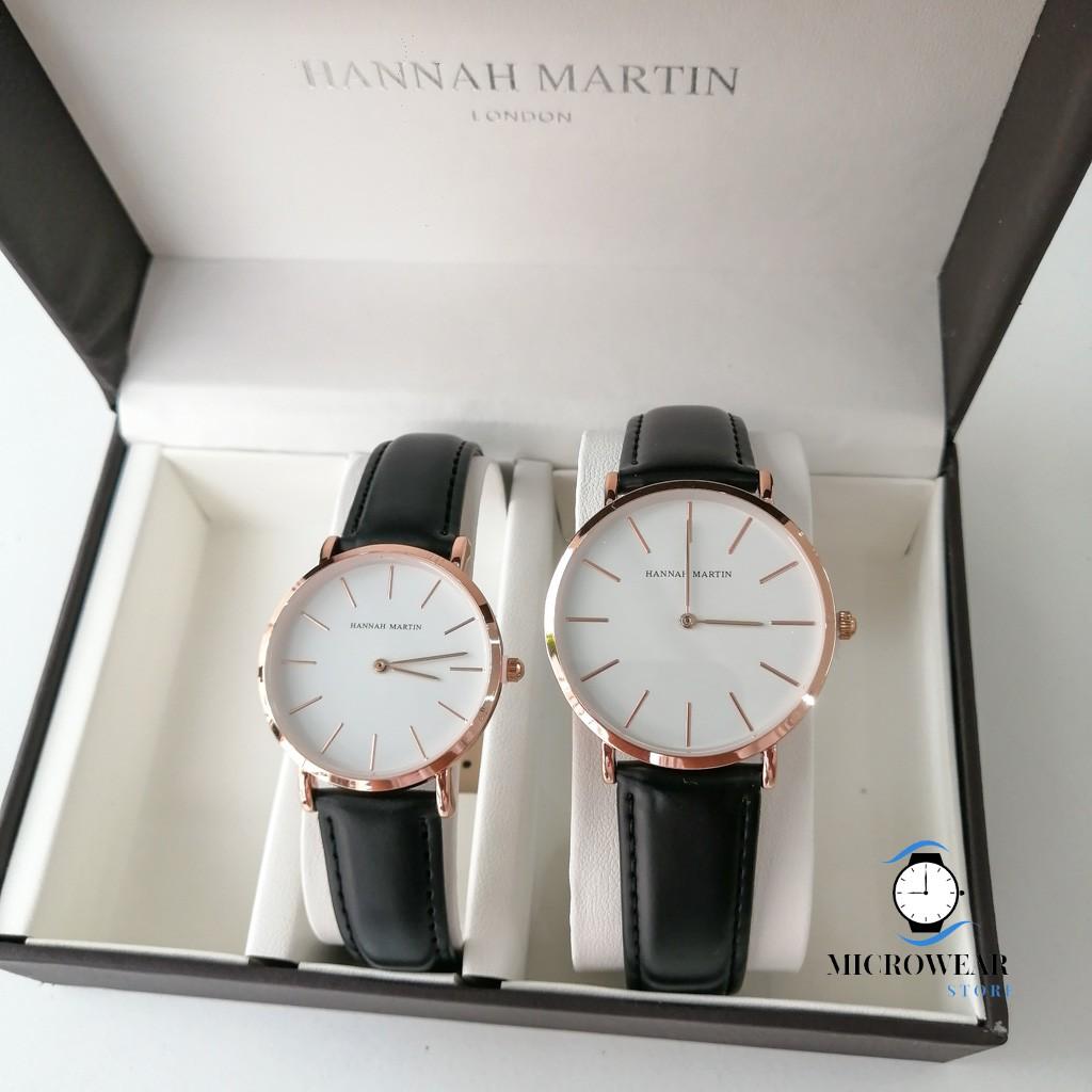 Đồng hồ cặp HANNAH MARTIN siêu mỏng chính hãng máy Nhật cao cấp dây da cá tính