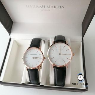 Đồng hồ cặp HANNAH MARTIN siêu mỏng chính hãng máy Nhật cao cấp dây da cá tính thumbnail