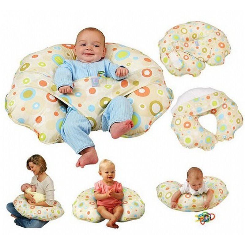 Gối chữ C chống trào ngược, tập ngồi đa năng có đai giữ bé