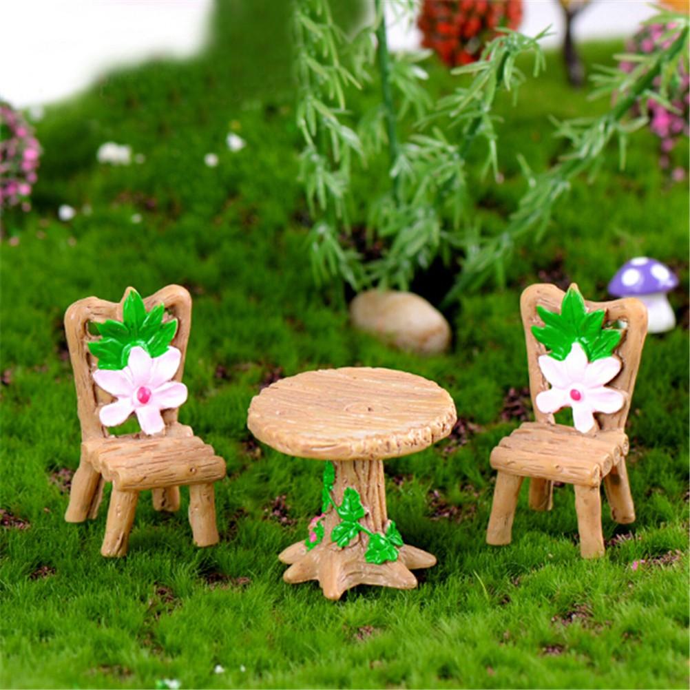 [BEW] 3Pcs Floral Table Chairs Miniature Landscape Fairy Garden Home Dollhouse Decor [OL]