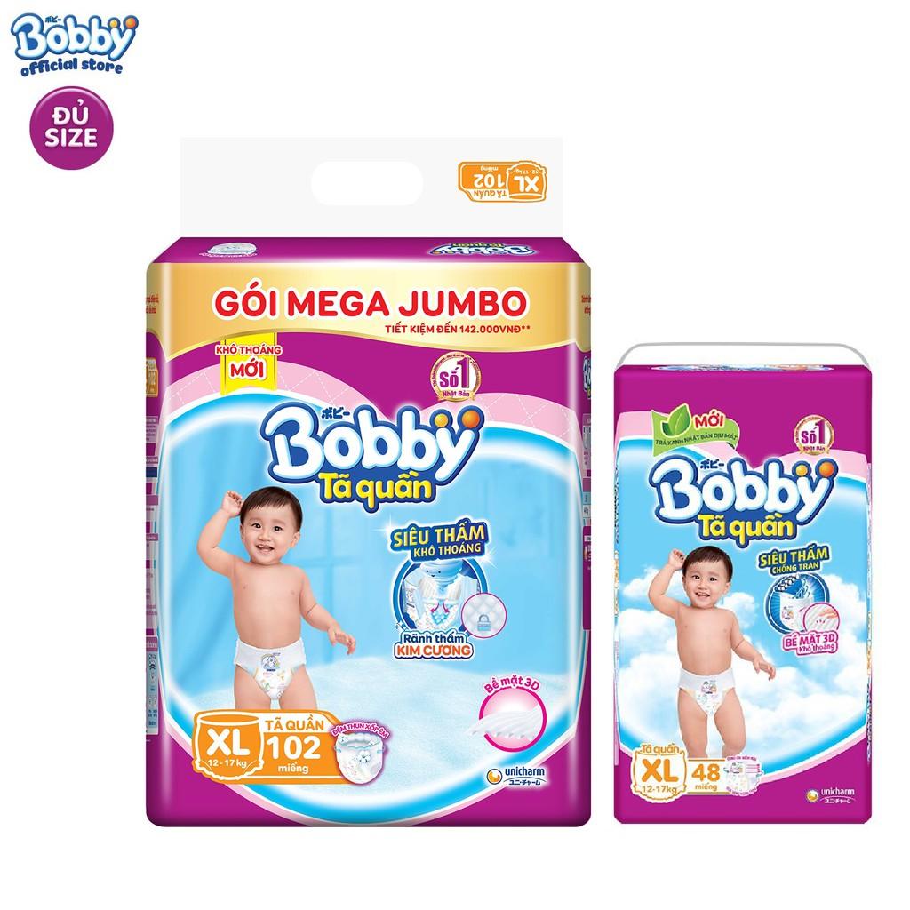 [Toàn quốc] Combo Tã quần Bobby siêu thoáng bịch Mega Jumbo + Super Jumbo M180/M182/L165/XL150/XXL137