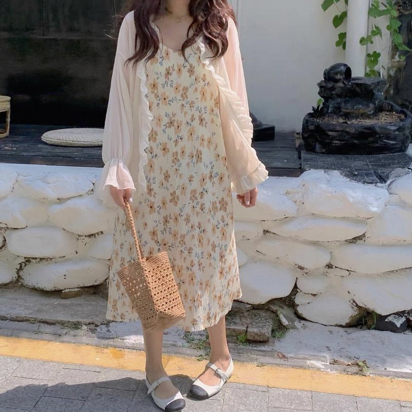 Váy 2 dây hoa nhí nhăn hai lớp phối áo cardigan bèo vải tơ mỏng  Ulzzang style 🌸 Hàng quảng Châu