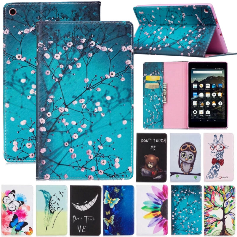 """For Amazon Kindle Fire HD 8 8"""" 2018&2017 Pattern Wallet PU Leather Case Flip Stand Cover card Slot"""