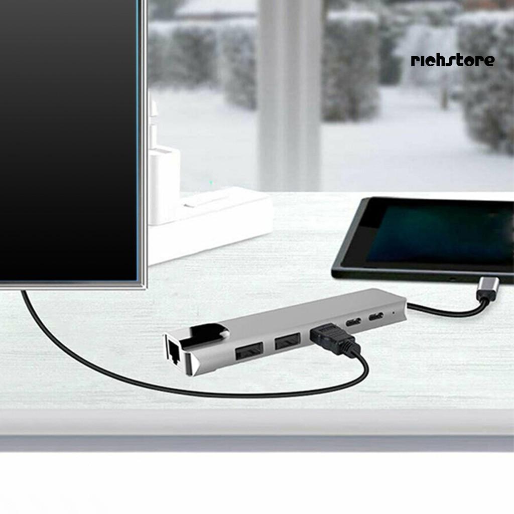 Bộ Chuyển Đổi Usb-c 6 Trong 1 4k Hdmi Rj45 Ethernet Lan Cho Nintendo Switch