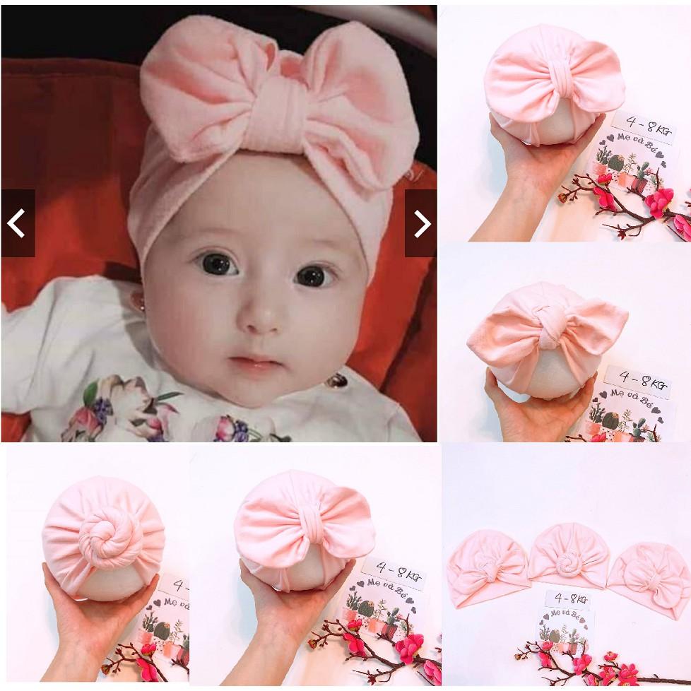 Mũ turban bé gái - hồng baby (4-8kg)
