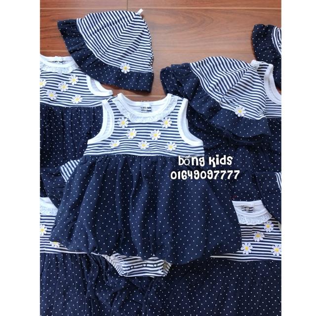 Váy Body Bé Gái Kèm Mũ Hoa Navy Little Me
