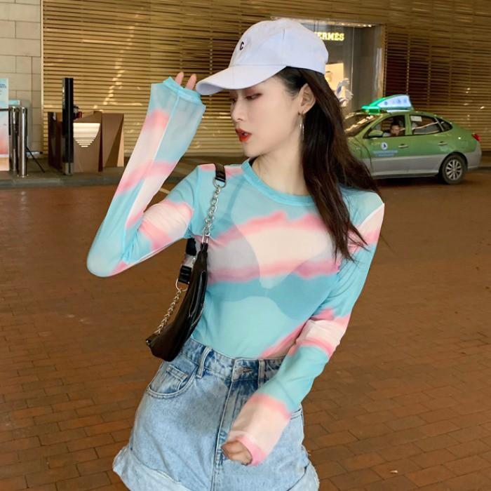 2019 ฤดูใบไม้ร่วงใหม่ของผู้หญิงเกาหลีอารมณ์บางเส้นด้ายสุทธิพิมพ์เสื้อบางๆ