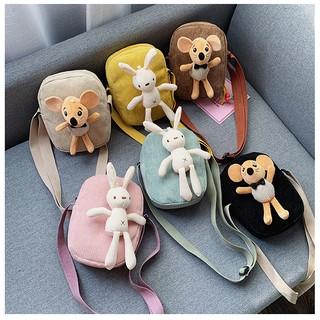 Túi đeo chéo mini phong cách Hàn Quốc kèm chuột và thỏ dễ thương, thời trang cho bé gái TV01