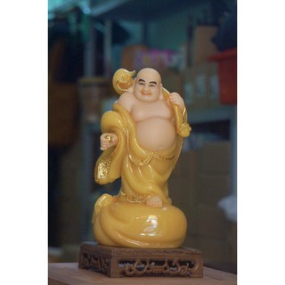 Tượng Phật Di Lặc cầm gậy như ý 26cm
