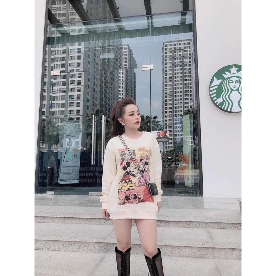 [MUST HAVE] Áo nỉ nữ dài tay in hình chuột mickey | SaleOff247