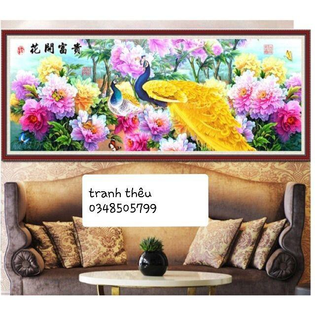 Siêu Sale Tranh thêu hoa mẫu đơn chim công khổ lớn 205x85cm hàng sẵn