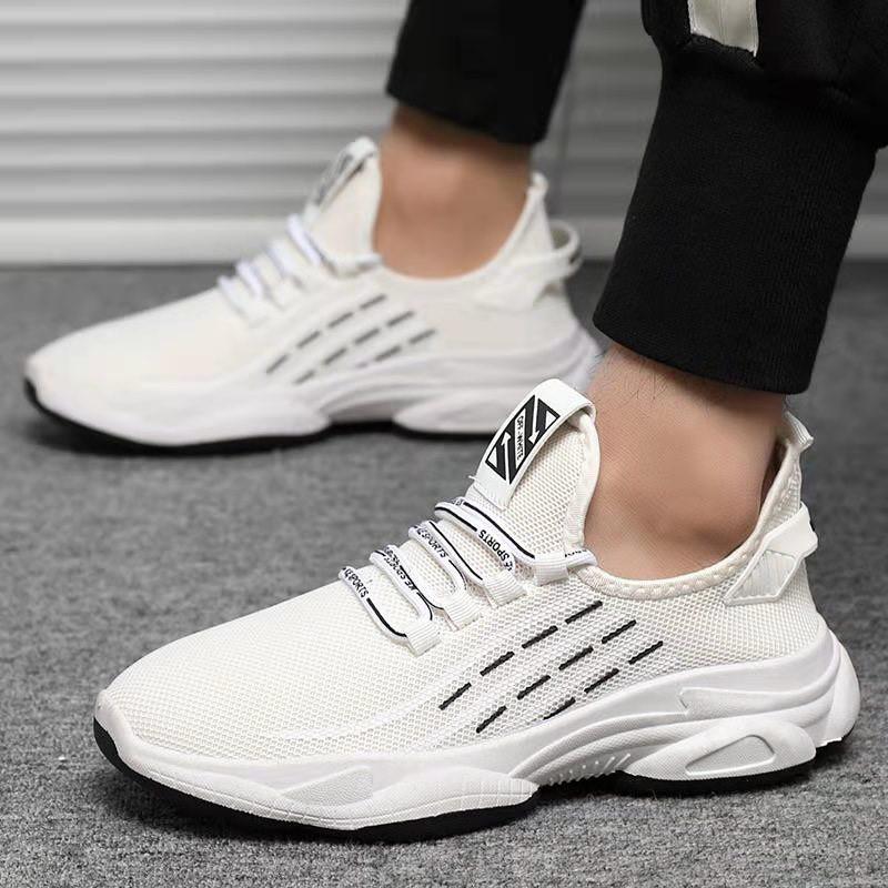 Giày Nam Giày Thể Thao Sneaker Giá Rẻ Vải Dệt Đế Cao Su Phong Cách Trẻ Trung - 2 Màu Đen Trắng - 033