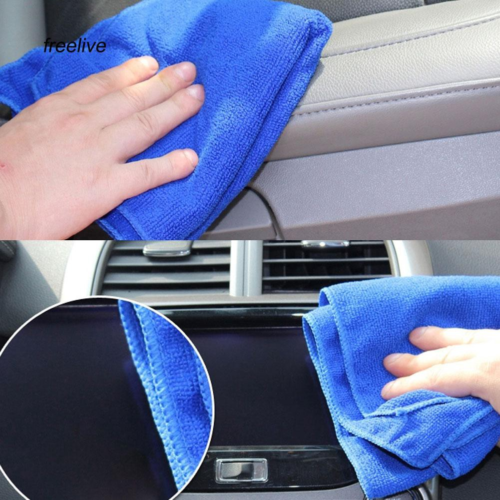 FLE_2Pcs 25x25cm Microfiber Cleaning Cloth Towel Home Car No-Scratch Washing Cloth