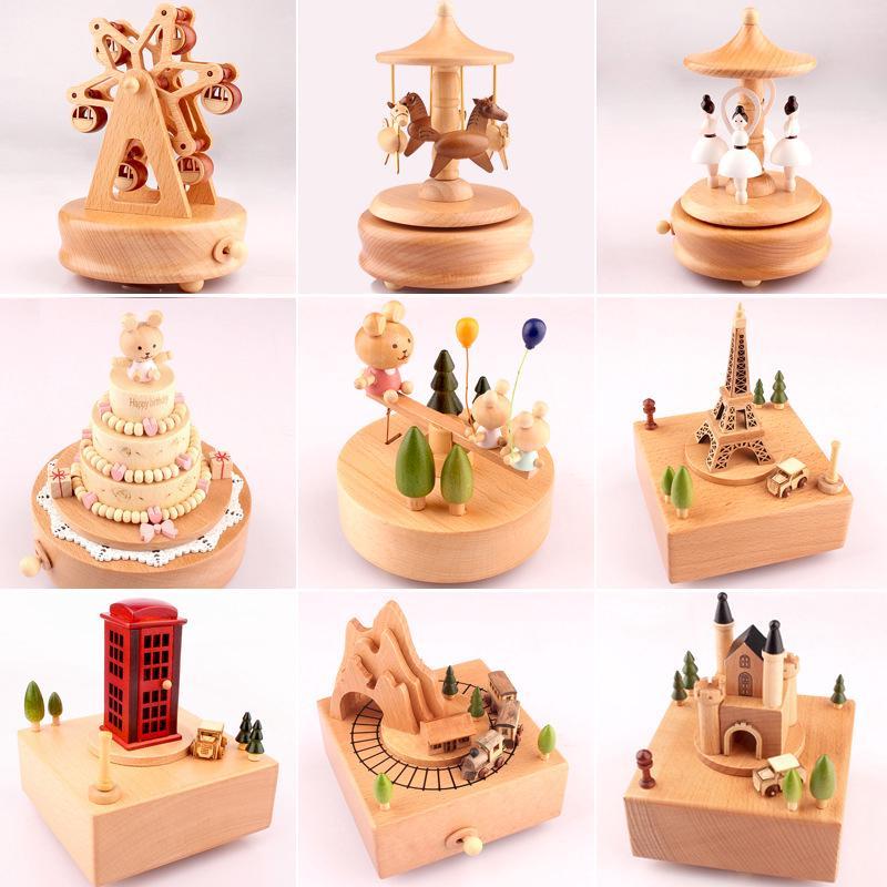 Hộp nhạc gỗ thiết kế sáng tạo dùng trang trí xinh xắn