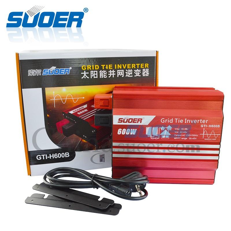 Inverter Grid tie 600w 24v กริดไทล์อินเวอเตอร์ รุ่นมีหน้าจอรีโมทแสดงผล Suoer GTI-D600B