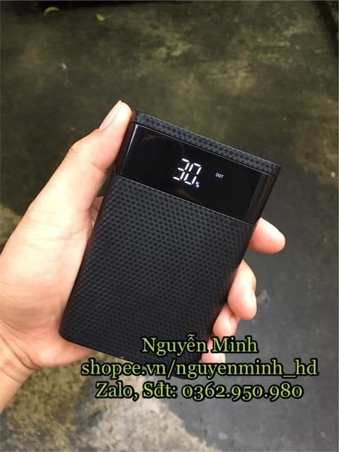 box sạc dự phòng hỗ trợ sạc nhanh loại lắp được 4 pin 18650 (BOX KHÔNG PIN)