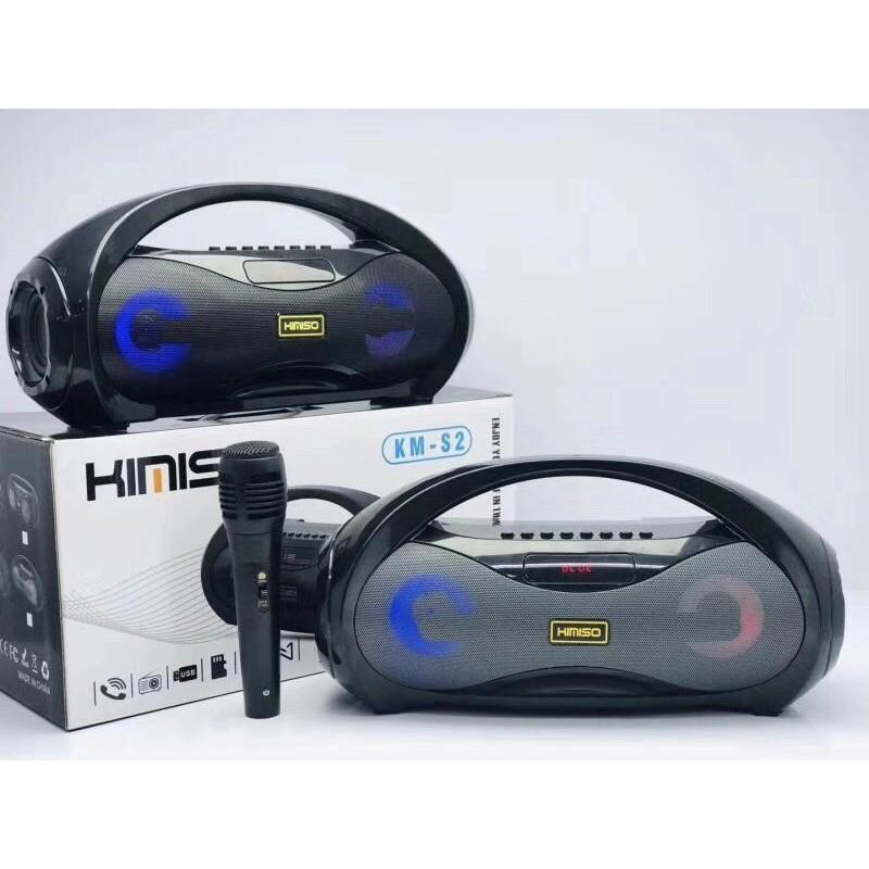 Loa Bluetooth Kimiso KM-S2 kèm mic hát karaoke – Âm thanh cực chắc, bass siêu trầm.
