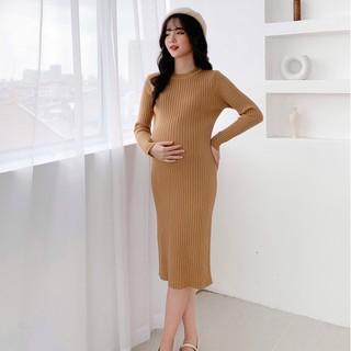MEDYLA - Váy len bầu co dãn chất len siêu nhẹ cho mẹ bầu trước và sau khi sinh - D20 - VM001 thumbnail