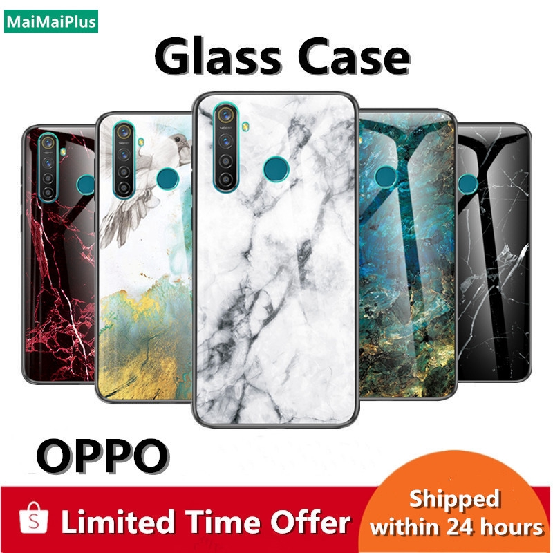 Glass phone casing marble case hard shell OPPO Realme XT 3 5 Pro Q Reno 2 Z A9 A5 2020 cover