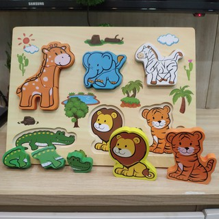 Đồ Chơi Gỗ – Bảng động vật ghép hình gỗ nổi Vivitoys