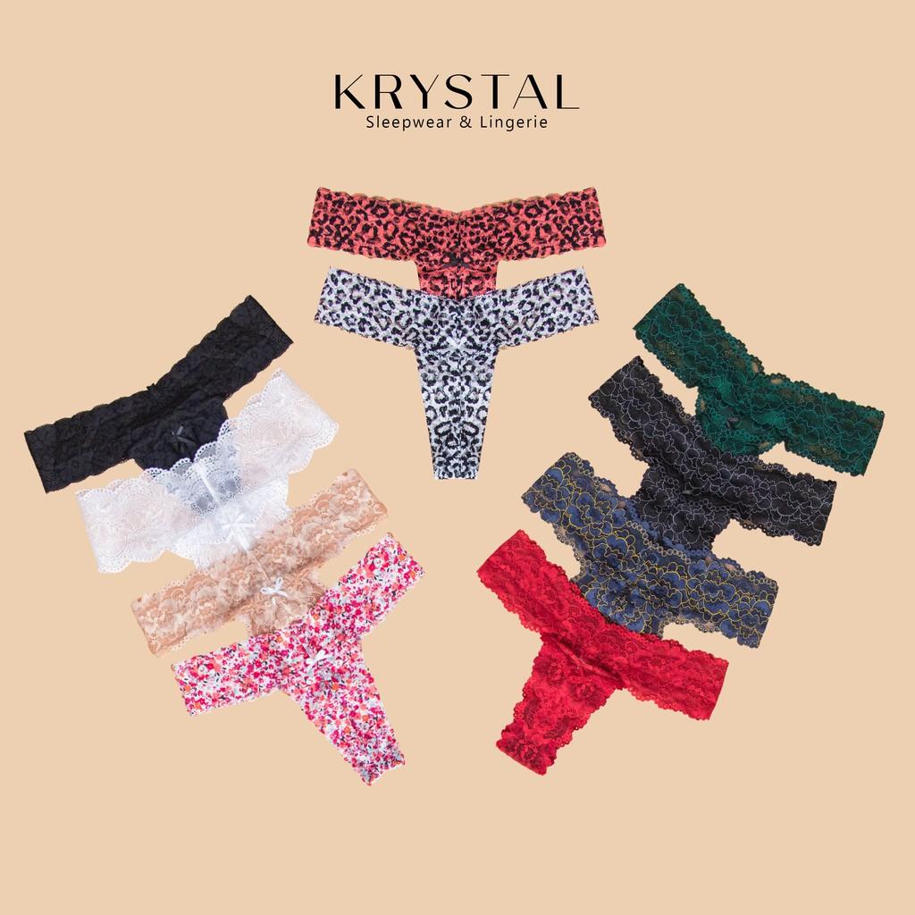 Quần lót ren lọt khe chữ T sexy gợi cảm màu họa tiết KRYSTAL KQT02