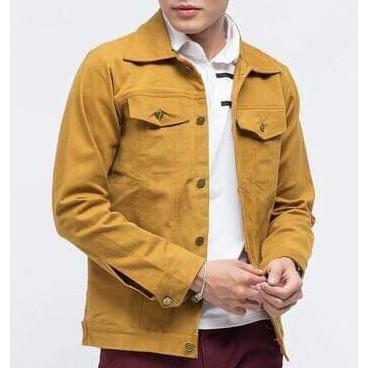 Áo khoác kaki nam trơn màu vàng có túi nút_FASHIONNEWW - Áo khoác kaki nam trơn màu vàng có túi nút_FASHIONNEWW