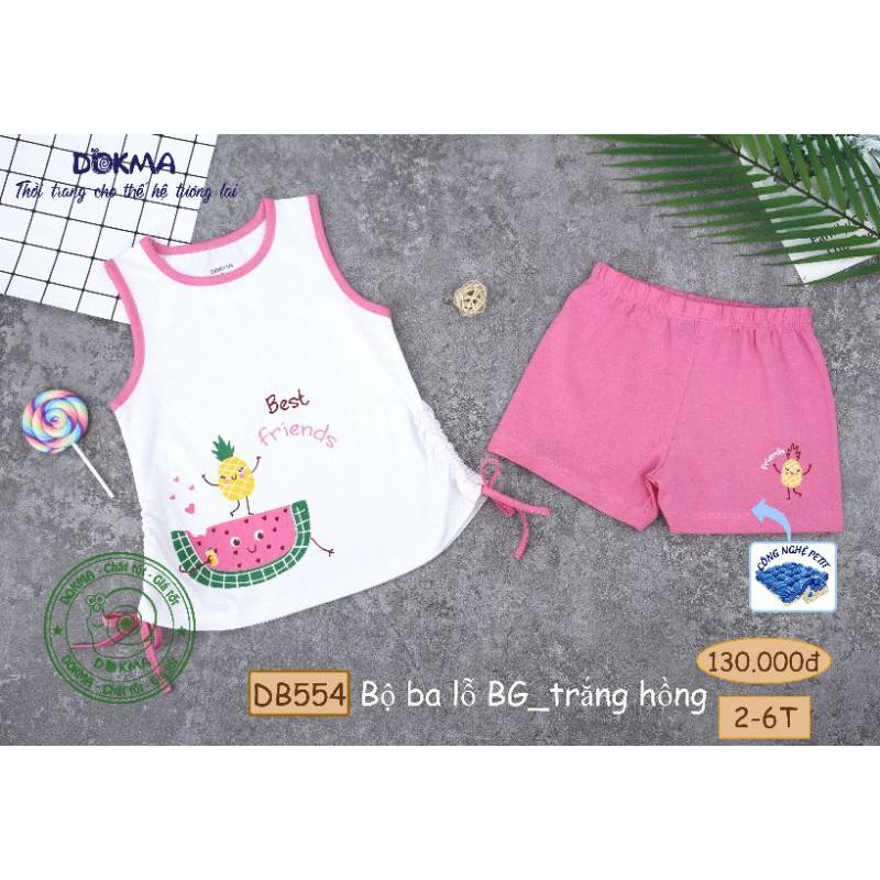 2-6Y Bộ ba lỗ bé gái Dokma DB554