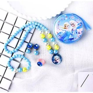 Sét hộp bộ trang sức trẻ em Phụ Kiện Elsa vòng cổ Vòng tay nhẫn bông tai bé gái công chúa Elsa Frozen thumbnail