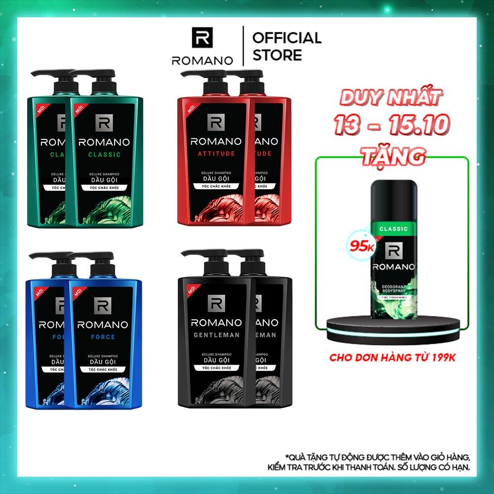 Combo 2 Dầu gội Romano 650g/chai – Tặng xà phòng Attitude 90g + Dây 12 gói dầu gội Classic 5g/gói