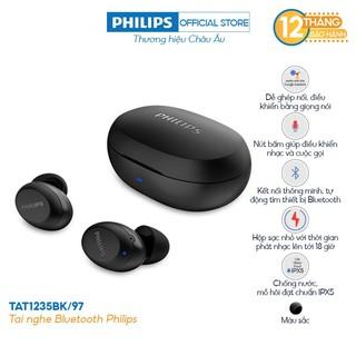 Tai nghe Philips Bluetooth Có Bass TAT1235BK/00 - Màu đen - Hàng Chính Hãng