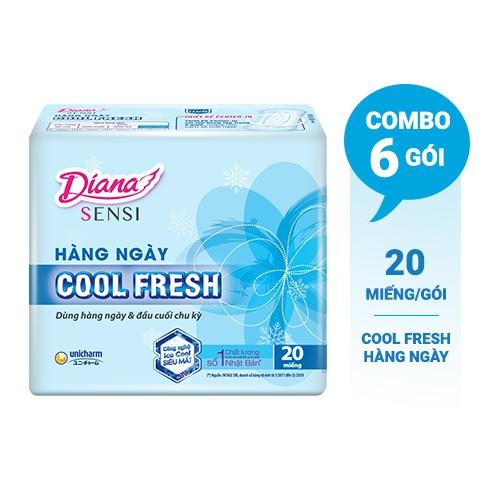 Bộ 6 gói Băng vệ sinh Diana hàng ngày Sensi Cool Fresh gói 20 miếng
