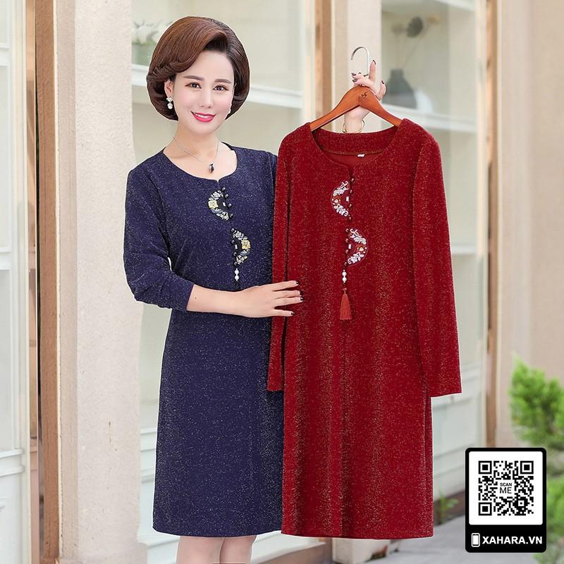 Đầm thu đông đẹp cho phụ nữ trung niên, tay dài, tôn dáng - 21912248 , 4707024376 , 322_4707024376 , 560000 , Dam-thu-dong-dep-cho-phu-nu-trung-nien-tay-dai-ton-dang-322_4707024376 , shopee.vn , Đầm thu đông đẹp cho phụ nữ trung niên, tay dài, tôn dáng