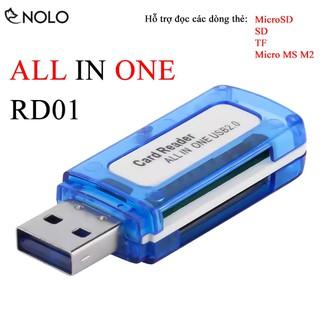 Đầu Đọc Thẻ Nhớ Cổng USB All Reader In One RD01 Hỗ Trợ Đọc Thẻ MicroSD, SD, TF, MS Micro M2 Plug And Play