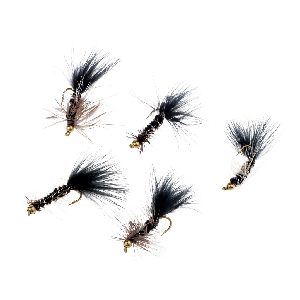 5Pc Hand-tied Streamer Fly Animal Black Wooly Bugger-Bead Head Insects Flies