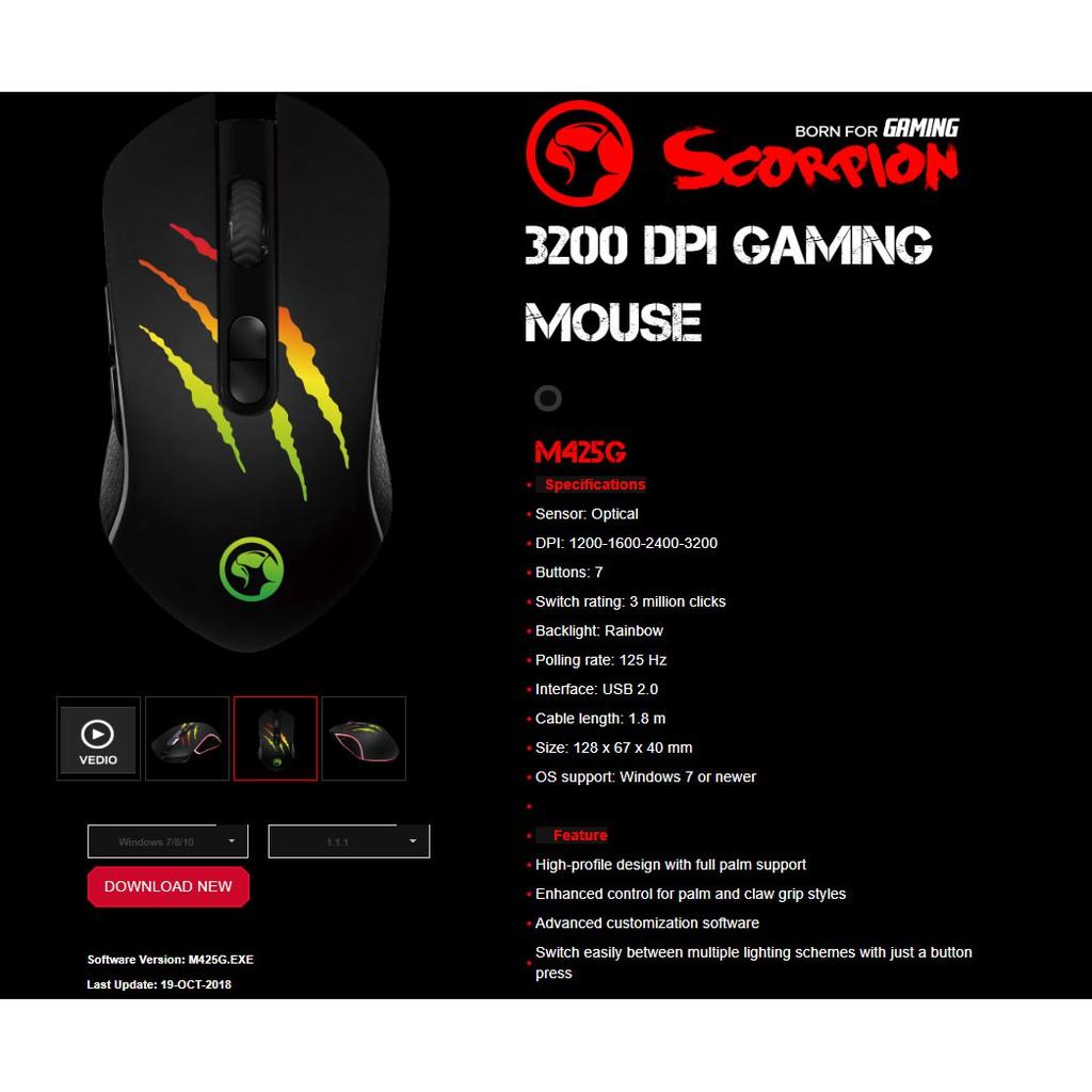 Mouse Marvo M 425G đen Led USB , Chuột máy tính có dây cổng USB Marvo M425g đen có đèn Led