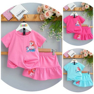 Sét Váy Bé Gái Đầm Pony bộ áo thun chân váy Pony kèm chip đùi cho bé gái Mềm Mát size nhí đại 2-15