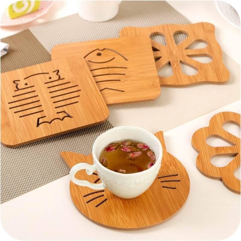 Bộ 10 miếng gỗ lót cách nhiệt cho xoong, nồi, bát đĩa họa tiết ngộ nghĩnh