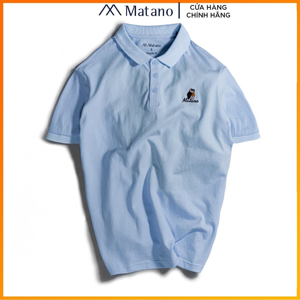 Áo thun polo nam cá sấu xanh biển MATANO - Áo phông nam có cổ trụ bẻ, vải cotton cao cấp chính hãng, thêu họa tiết 027