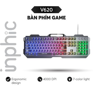 Bàn Phím Gaming INPHIC V620 LED Nền Đa Sắc Đẹp Mắt Hỗ Trợ Anit Ghosting 19 Phím - Hàng Chính Hãng thumbnail