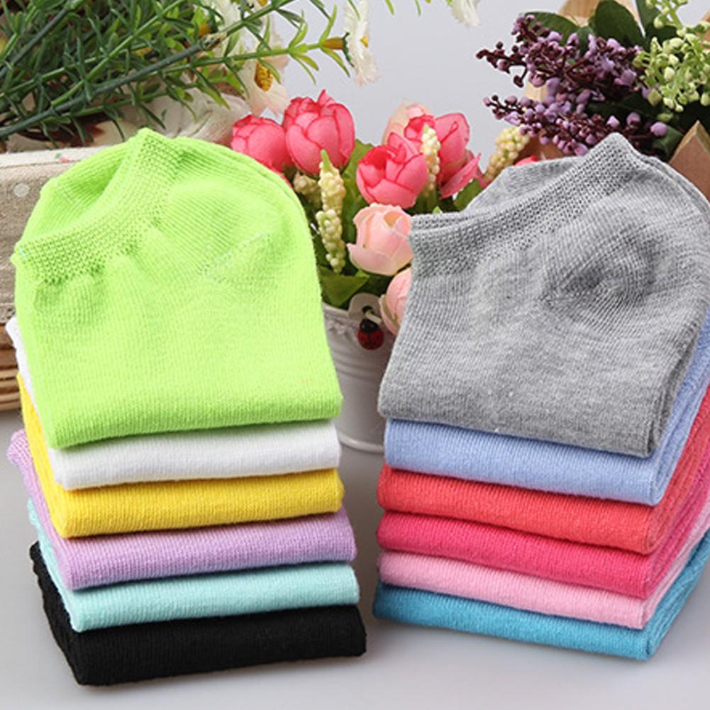 Vớ cotton cổ thấp màu kẹo thoáng khí thoải mái cho nữ