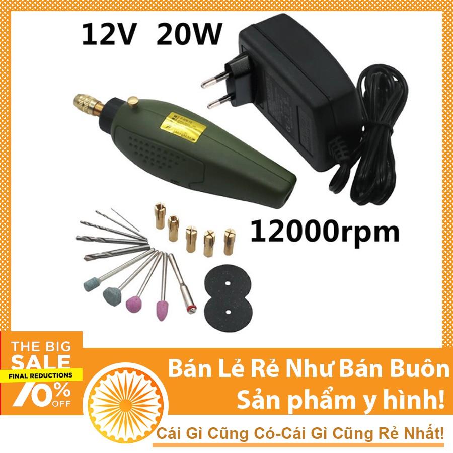 Bộ máy khoan mài cắt cầm tay mini 12VDC 12000rpm