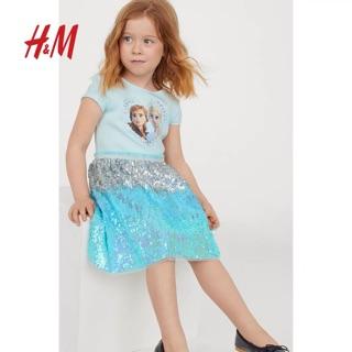 Váy công chúa Elsa xanh HM cộc tay 1-10Y (có ảnh thật)
