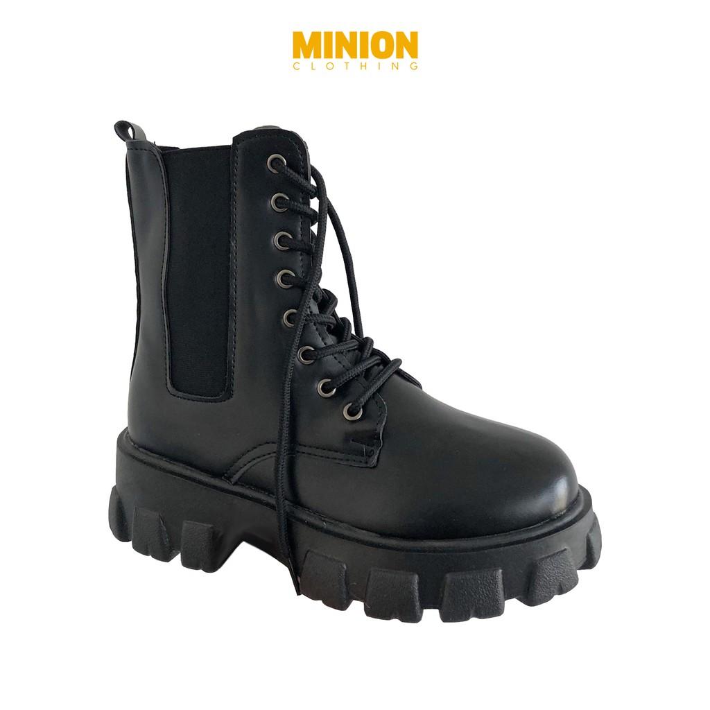 Giày boots Minion Clothing cổ cao, đế độn 5cm phong cách Ulzzang Streetwear G2801