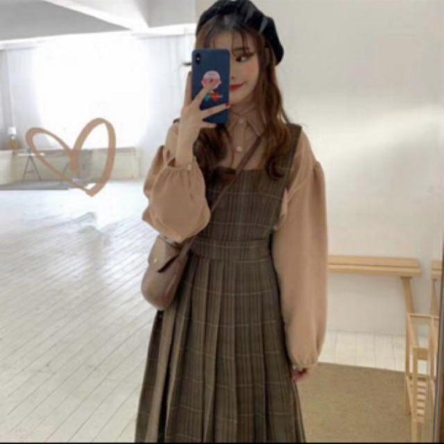 Váy yếm kẻ dáng dài ( Hàng order ,)