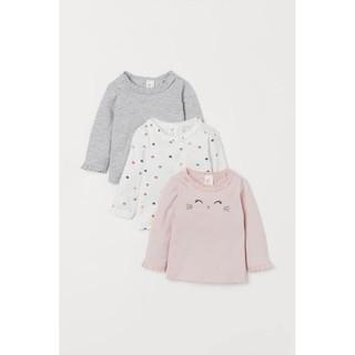 Set 3 áo cotton bé gái H&M