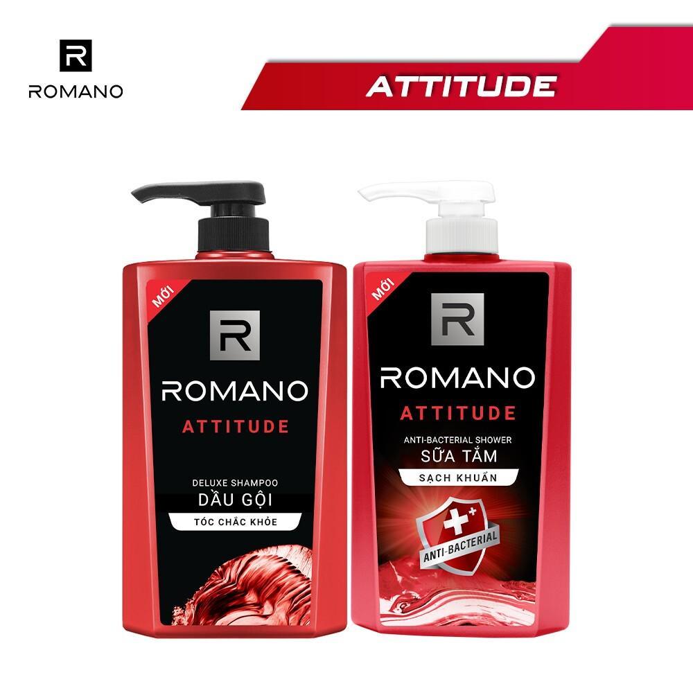 Combo Dầu gội và Sữa tắm sạch khuẩn Romano Attitude 650g/chai